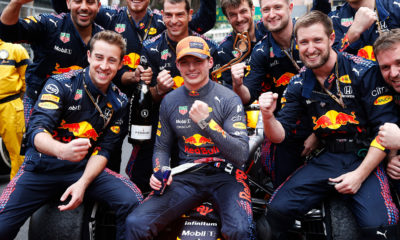 Max Verstappen and Red Bull celebrating 2021 Monaco GP Race victory