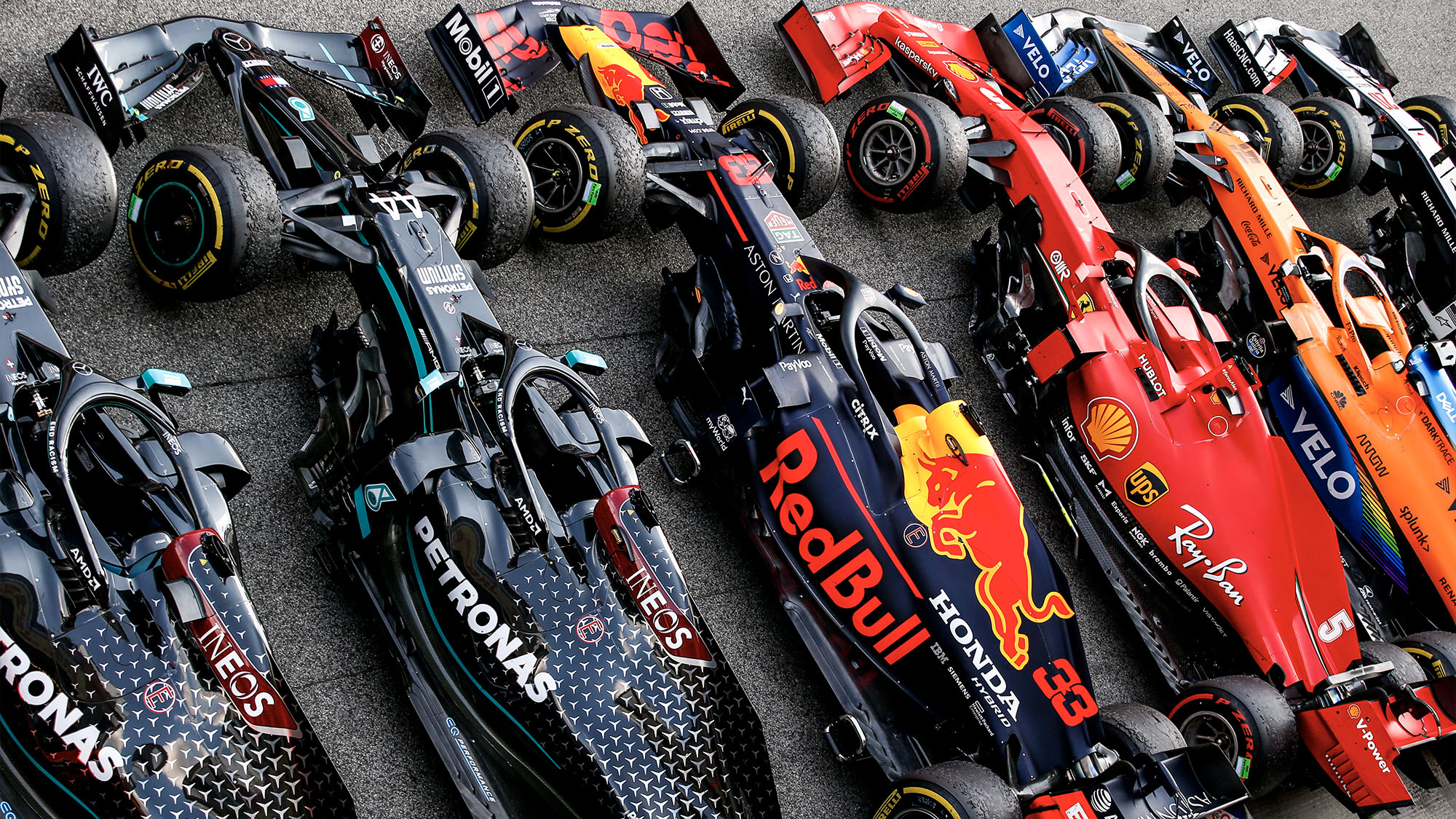 McLaren-Ferrari-red-Bull-and-Mercedes-cars-lined-up-in-parc-ferme-after-the-2020-F1-Spanish-Grand-Prix